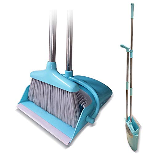 Broom and Dustpan Set Lightweight Upright Lobby Broom and Dust Pan Combo with Long Handle Outdoor Indoor for Home Kitchen Room Office (Blue)
