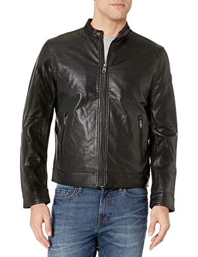 London by London Fog Men's Lamb Touch Perforated Zip Front Cropped Jacket, Black, M
