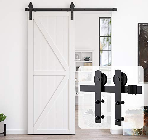 Homlux 6ft Heavy Duty Sturdy Sliding Barn Door Hardware Kit, Single Door-Smoothly and Quietly, Easy to Install and Reusable - Fit 1 3/8-1 3/4' Thickness & 36' Wide Door Panel, Black(I Shape Hanger)