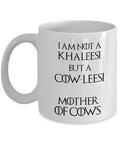 N\A Cowleesi Cup Mug Gift No Soy un Khaleesi Sino un cowlessi Madre de Vacas Taza de café Divertida para Amantes de Las Vacas