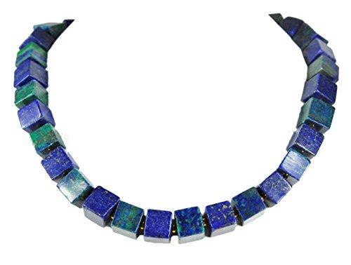 Extraordinario collar de piedras preciosas hecho de azurita de malaquita y cubos de lapislázuli