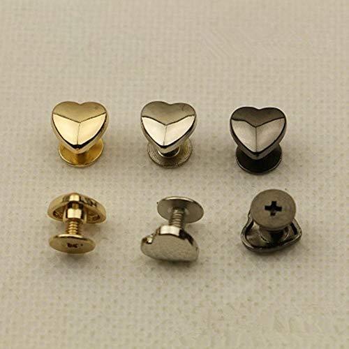 20 piezas nueva bolsa de cinturón de tornillo de cuero con remache en forma de corazón decoración de hardware de cuero de remache accesorios clavo, pistola negro