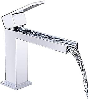 Lovedima Fiego Modern Chrome Waterfall Single Hole Faucet for Bathroom Sinks (Short)