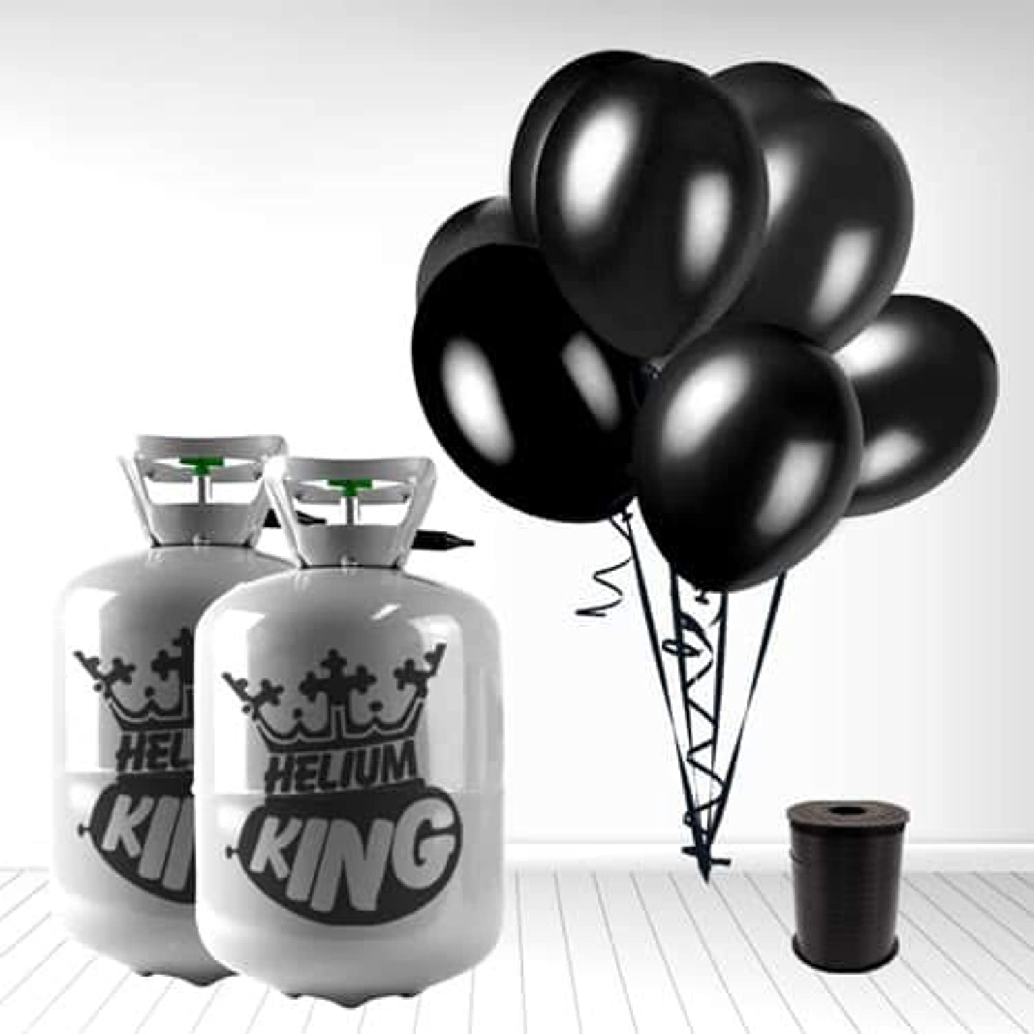 Disposable Helium Gas Cylinder with 60 Black Balloons and Curling Ribbon included