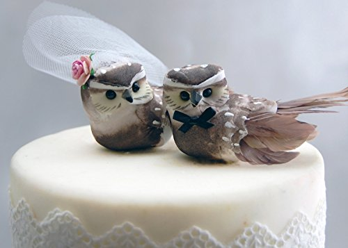 "Owl Cake Topper in Cocoa Brown: Woodland""Bride and Groom"" Love Bird Wedding"
