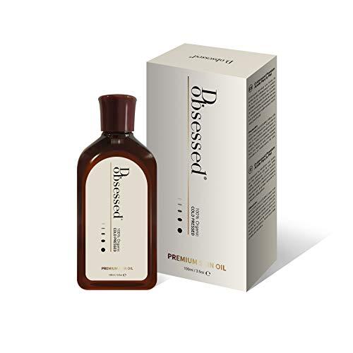 Premium Hautöl von D.obsessed - 3 beste in 1 - Bio Jojobaöl, Hagebuttenöl & Vitamin E Öl - Natürliche Behandlung für Gesicht, Körper & Nagel - Anti-Aging, Feuchtigkeitsspendende Wirkung (100ml)