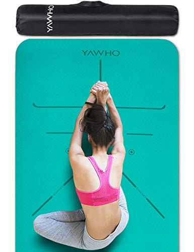 YAWHO Colchoneta de Yoga Esterilla Yoga Material medioambiental TPE,Modelo:183cmx66cm Espesor:6milímetros,Tapete de Deporte Grande y Antideslizante,Correas y Mochilas como Regalos (Cyan)