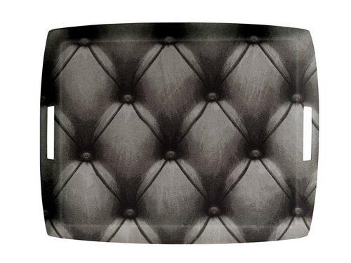 Platex 4054431050 Plateau en Acrylique Grand Modèle à anses intégrées décor Capiton Gris