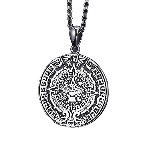 Collar Retro de Plata de Ley 925, joyería fina, amuleto, collar con colgante de disco para hombres, mujeres, regalo con personalidad