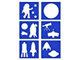 Mini Stencil Sheets - Space, Rocket, Planets, Moon, Telescope, Astronauts - 6 Styles