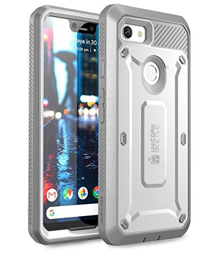 SUPCASE Schutzhülle für Google Pixel 3 XL (2018, Unicorn Beetle PRO Serie, robuste Holster-Tasche mit integriertem Displayschutz, Einzelhandelsverpackung, weiß
