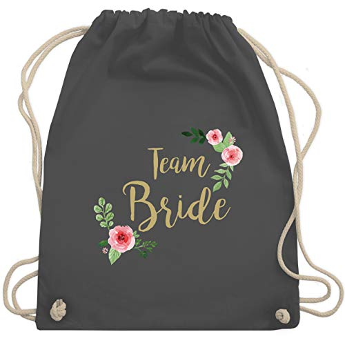 Shirtracer JGA Junggesellenabschied Frauen - Team Bride Blumen vintage - Unisize - Dunkelgrau - rucksack bride to be - WM110 - Turnbeutel und Stoffbeutel aus Baumwolle