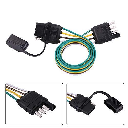 Adaptador de remolque, juego de conectores de remolque plano de 4 clavijas que consta de un enchufe de remolque de cable codificado por colores para remolque estándar americano para