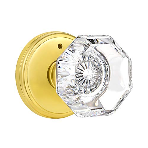 CLCTK Privacy Crystal Glass Door Knobs Interior with Lock, Modern Octagon Door Knobs for Bedroom/Bathroom, Gold/Polished Brass Finish