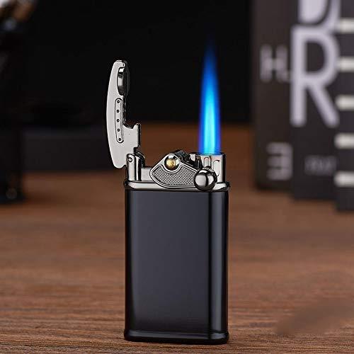 Encendedor de gas, retro jet antorcha turbo, encendedor de gas, encendedor de cigarrillos, accesorios para ahumar encendedores para hombres cepillado negro