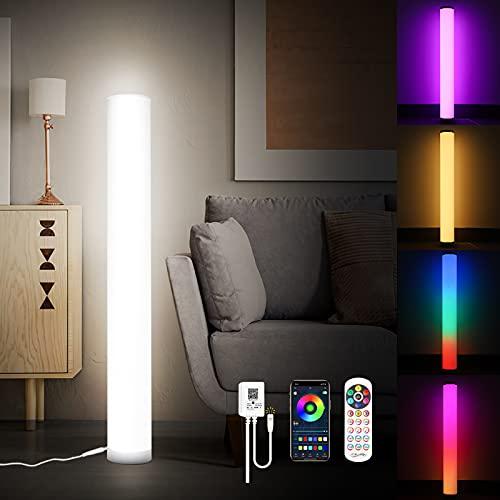 KINGLEAD Lámpara de pie LED, 2 Piezas Moderna Lampara de pie Regulable con Mandoa Distancia APP Ambiente Multicolor Cambio de Color RGB Lámpara LED para Salón, Dormitorio, Sala de juegos Decoración