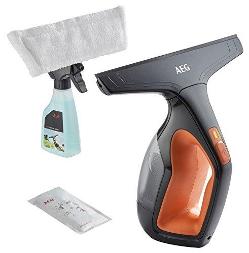 AEG WX7-60CE1 Fenstersauger / inkl. Zubehör + Abziehlippen aus Naturkautschuk / Sprühflasche / nur 60 db(A) / breite Saugdüse / 1 LED-Indikator / 110 ml Wassertank / 60 min Laufzeit / orange/grau