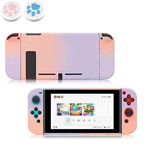 Nintendo switch カバー スイッチケース 専用カバー 親指キャップ2個入り Joy-Conカバー 分体式 全面保護ケース 耐久性 PC素材 キズ防止 衝撃吸収 着脱簡単 擦り傷防止 取り外し可能 指紋防止 可愛い (ピンク/紫)