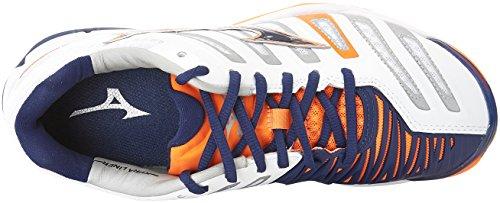 Mizuno Herren Wave Stealth American Handball Schuhe, Mehrfarbig (White/bluedepths/orangeclownfish), 45 EU - 7