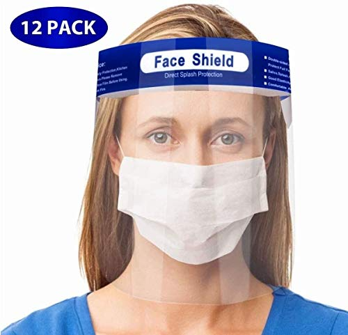HEHE 12pcs Viseras Protectoras para la Cara, plástico Ligero, Ajustable, Transparente (Azul)