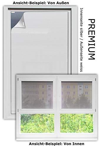 EFIXS Sonnenschutz für Außen ohne Bohren - Farbe: Premium (aussen Weiss/innen alu) - Breite bis 80 cm, Höhe bis 180cm - Montage: Selbstklebender Druckverschluss - SCHEIBENFIXS auf Maß