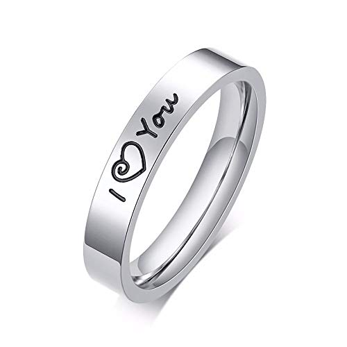 RNXRB Engraved I Love You Couple Ring Stainless Steel Men And Women Wedding Band for Him and Her Wedding Accessories rings 10