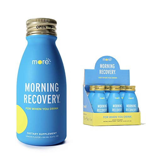 Morning Recovery: Patent-Pending Hangover Prevention Drink (Pack of 6) - New & Improved Original Lemon Flavor - Highly Bioavailable Liquid DHM, Milk Thistle, Electrolytes - No Artificial Flavors