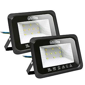 Focos LED exterior 10W Extrastar Potente Luces Led Exterior IP65, Luz de Seguridad Luz fría 6500K para Terraza, Jardín, Patio, Parque, Garaje [Clase de eficiencia energética A+]2 paquetes