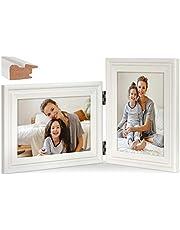 Verticale horizontale combinatie, 13 x 18 cm dubbele Wit houten fotolijst, tafelblad of wandmontage, staand en liggend aanzicht (laklijst, 10x15 cm)