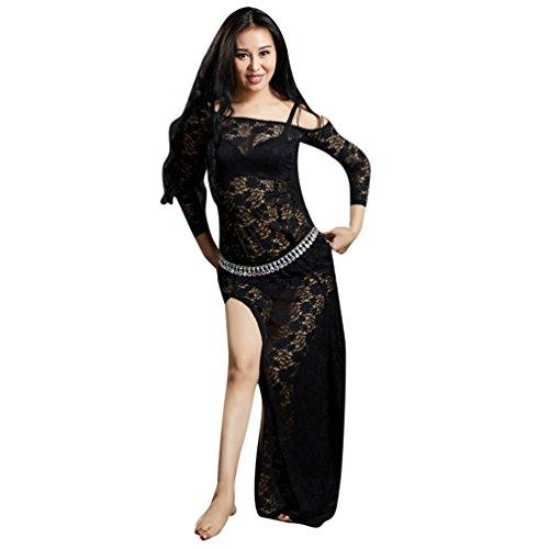 YuanDian Mujer Encaje Vestidos De Danza del Vientre División Alta Mangas Largas Perspectiva Elegante Tribal Oriental Arabian Dance Vestido Ropa Trajes (Sin Cadena De Cintura) Negro