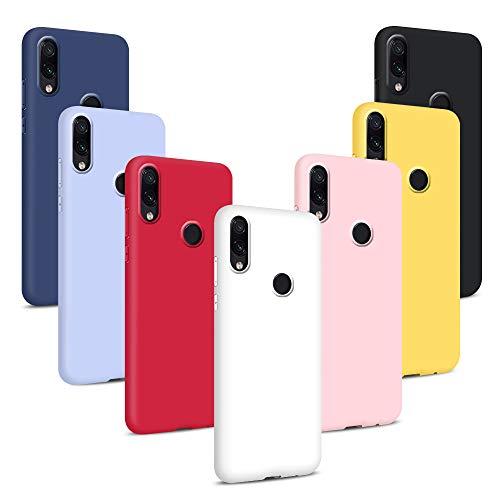 Coqin 7X Funda para Xiaomi Redmi Note 7/ Note 7 Pro, Carcasas Flexible Suave TPU Silicona Ultra Delgado Protección Caso(Rojo + Rosa + Púrpura + Amarillo + Blanco + Negro + Azul)