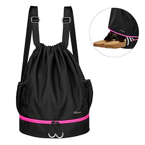 Ryaco Turnbeutel Unisex Sportbeutel Kordelzug Rucksack für Sport, Outdoor und Reisen, Gym Bag Daypack mit Innentasche und Reißverschluß-Sicherheitstasche (Schwarz & Pink)