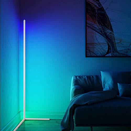 XXVH 140cm Altura RGB Lámpara de Pie, Estar Sala Moderna Regulable LED Esquina Lámpara de Pie con Control Remoto Regulable, Lámpara de Lectura de pie Nórdica Minimalista Que Cambia de Color White
