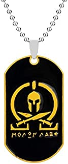 Davitu Mens Fashion Hip Hop Jewelry Sparta Molon Labe Military Dog tag Necklace Men Cool Pendant Necklace Chain Choker collares Collier - (Metal Color: 1710 Yellow)
