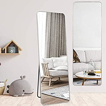 Silver Large Rectangle Floor Mirror Rounded Corners with Aluminum Alloy Frame BEAUTYPEAK Full Length Mirror Standing Mirror 20x60
