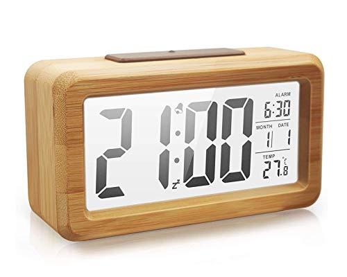 Reloj despertador digital Reloj despertador electrónico de bambú con luz de fondo clara, luz nocturna con sensor inteligente con repetición, fecha, temperatura, conmutable 12/24 horas, carcasa de bamb