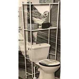 Tendance – Mueble de baño (metal, 2 estantes), color blanco