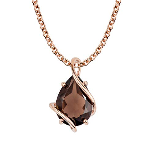 10k Rose Gold Genuine Pear-shape Smoky Quartz Teardrop Pendant Necklace