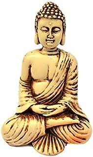 4in Buddha Statue/Idol/Decorative Figurine: Poly Marble with Antique Ivory Finish. PREMIUM QUALITY Buddha Idol in Meditati...