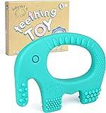 Baby Elefanten Beißring - Weiches Silikon | BPA-frei | Biegsam und Gefrierschrank geeignet für Babys (Blau)