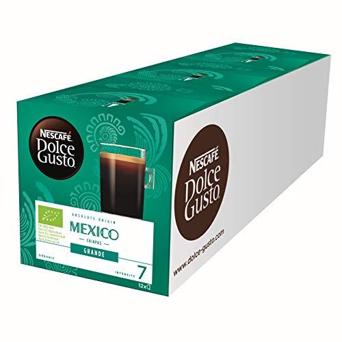 NESCAFÉ Dolce Gusto Mexico Grande, 36 Kaffeekapseln, 100% biologischer Anbau, Arabica und Robusta Bohnen, vollmundiger Geschmack, Bio-Kaffee, Absolute Origin, 36 Getränke, 3er Pack (3 x 12 Kapseln)