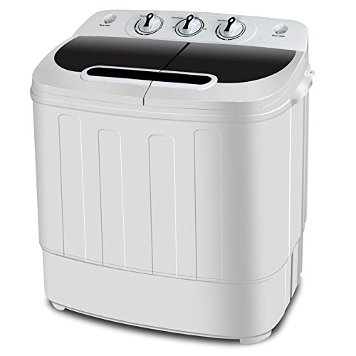 SUPER DEAL Portable Washer Mini Twin Tub Washing Machine w/Washer&Spinner, Gravity Drain, 13lbs Capacity For Camping, Apartments, Dorms, College Rooms, RV's, Delicates and more (#1)