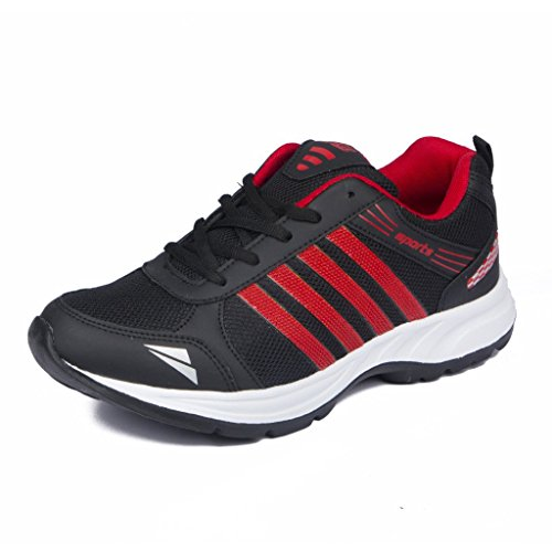 RENDEZVOUS Mens Trainers Athletic Walking Running Gyming Jogging Fitness Sneakers/Sports Shoes + Men's Lightweight Running and Walking Shoes Red