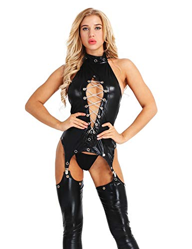 CHICTRY Body de Cuero Abierto Mujer Sexy Conjunto de Lencera Disfraz Erotica Tanga Entrepierna Abierta con Ligas Babydoll Pijamas Bodysuit Clubwear Negro Negro XXX-Large