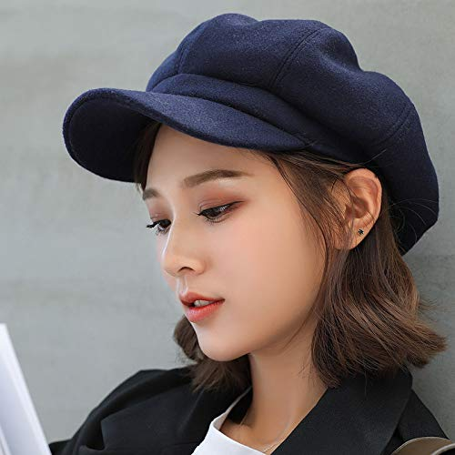 wopiaol Hat solid color woolen octagonal hat female autumn and winter thickened warm beret retro painter hat