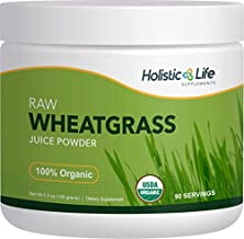 Holistic Life Supplements Organic Wheatgrass Juice Powder, Ancient Sea Bed Grown, 6.3 oz, Premium Raw
