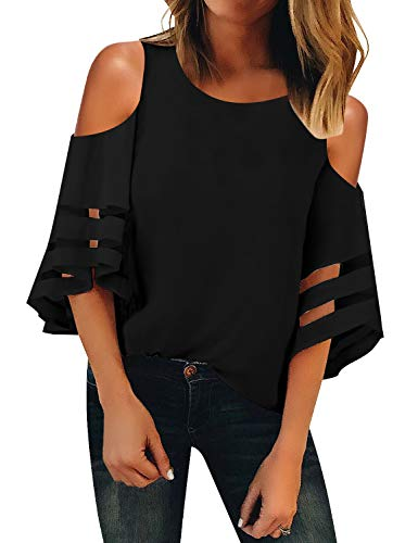 LookbookStore Sexy Cold Shoulder Tops for Women Black Crewneck Mesh Panel Blouse 3/4 Bell Sleeve Loose Tops Shirt Size X-Large