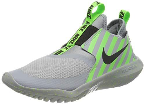 Nike Unisex Kinder FLEX RUNNER SPORT (GS) Sneaker, WOLF GREY/BLACK-ELECTRIC GREEN, 35.5 M EU