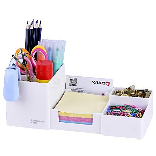 Comix B2214 - Organizador de escritorio, con lapicero (blanco)