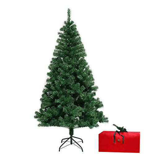 ROSELEAF 7.5 ft Artificial Christmas Tree Hinged Xmas Pine Tree 1346 Branch Tips for Holiday Festival Party Decoration with Tree Storage Bag